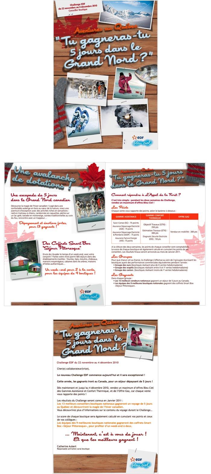 affiches, dépliants, e-mailings pour stimulation de la force de vente