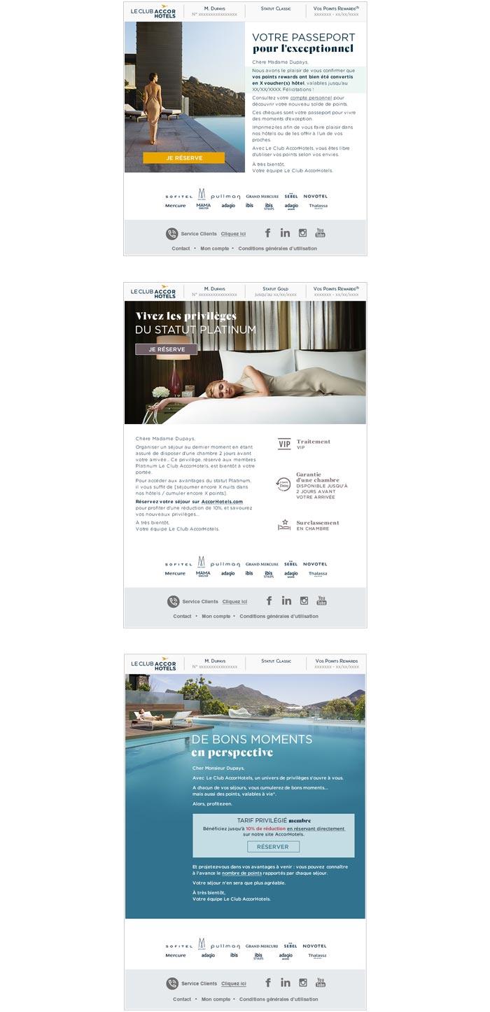 emailings programme de fidélité dans hôtellerie