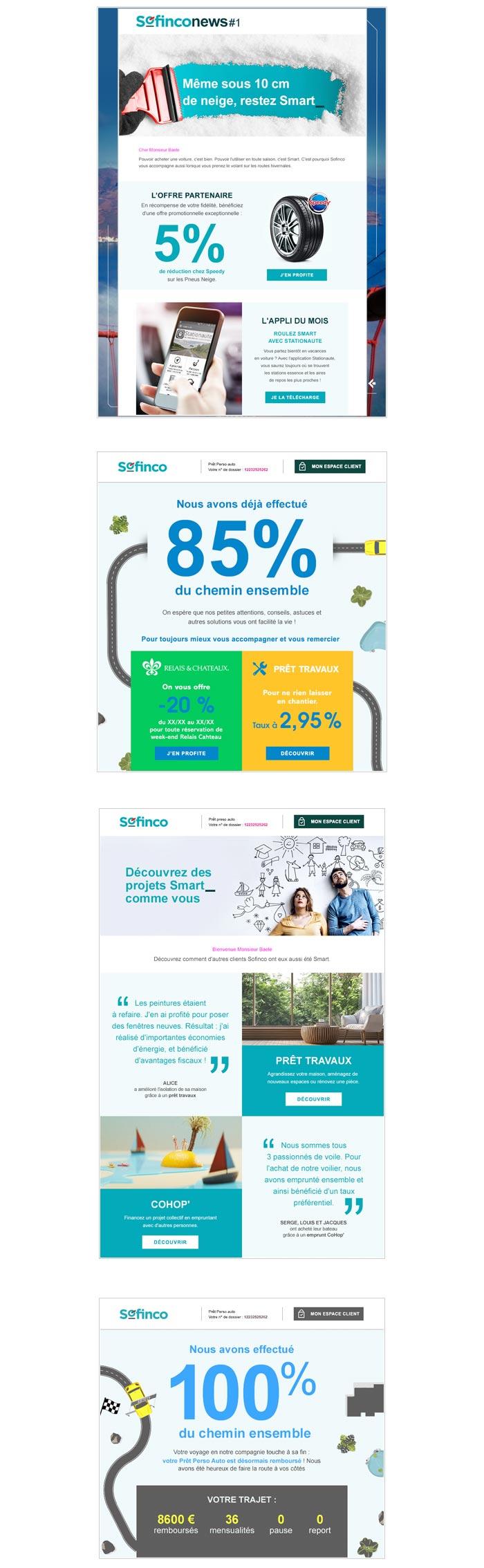emailings programme CRM crédit à la consommation
