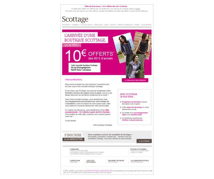 E-mailing ouverture d'une nouvelle boutique de mode