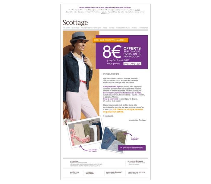 mailing web pour offre promotionnelle dans secteur mode