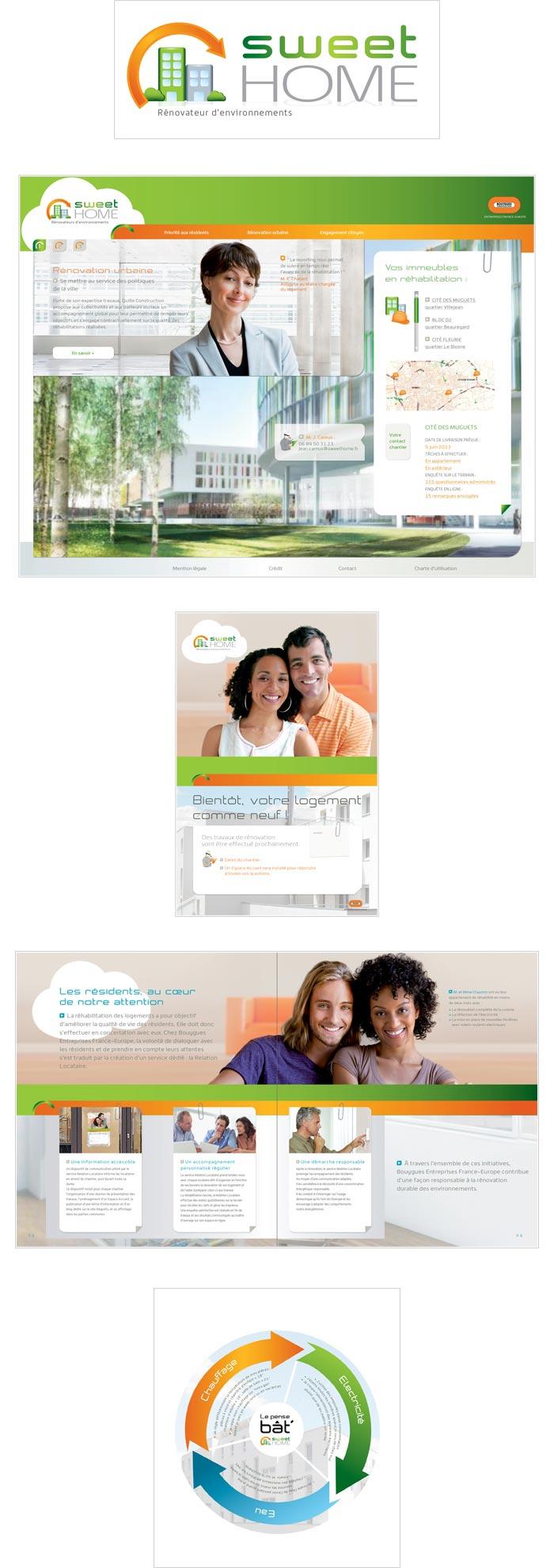 logo, kakémono, affiche et plaquette pour réhabilitation des logements sociaux
