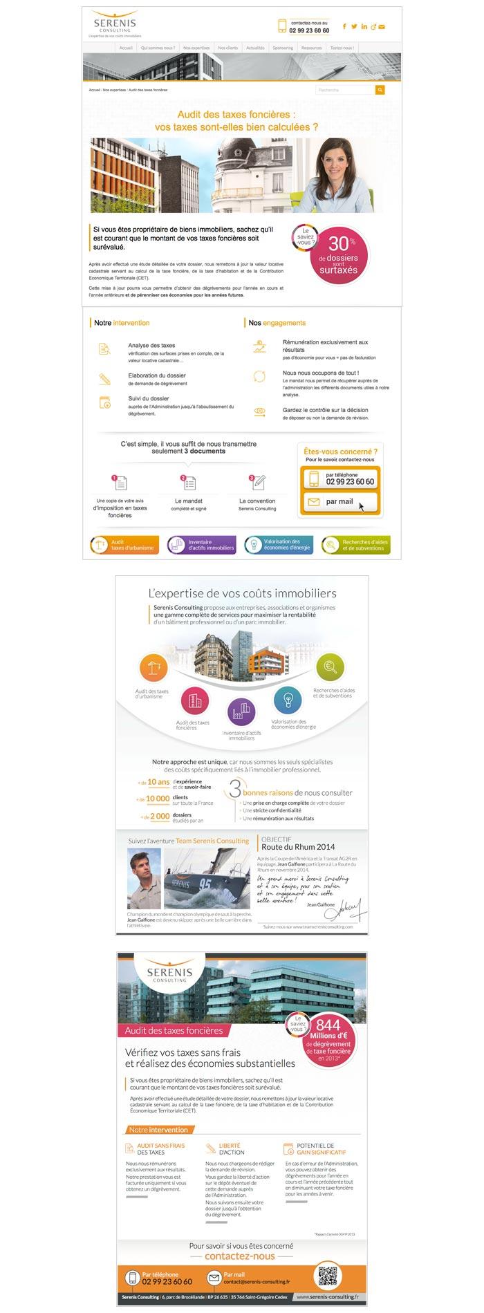 Site web vitrine, plaquettes entreprise et métiers, mailings de prospection