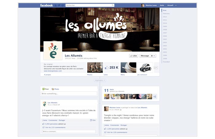 page Facebook pour communication buzz