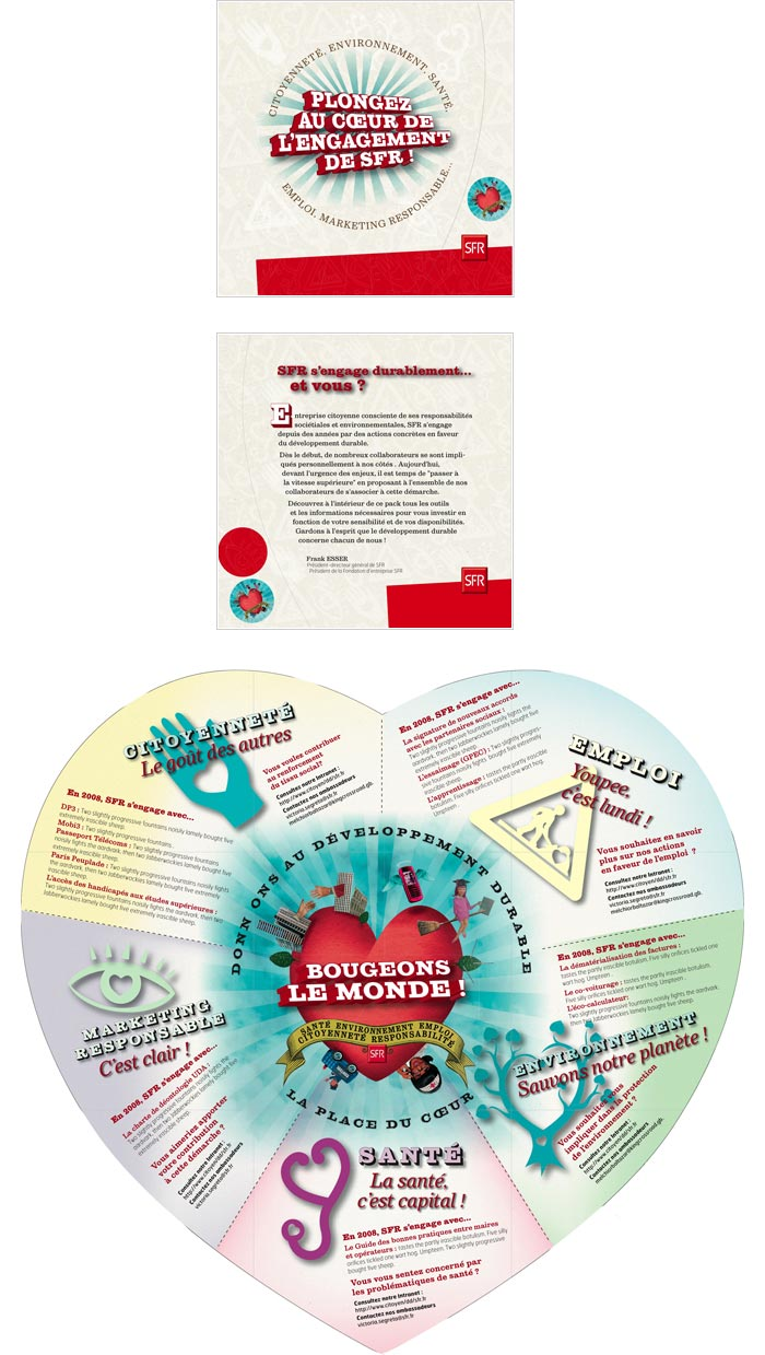 affichage et leaflet sur Développement durable pour communication corporate