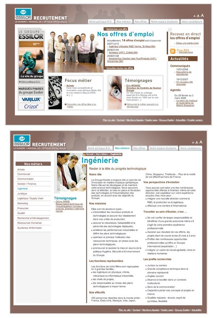 site web recrutement et RH pour grande entreprise dans optique