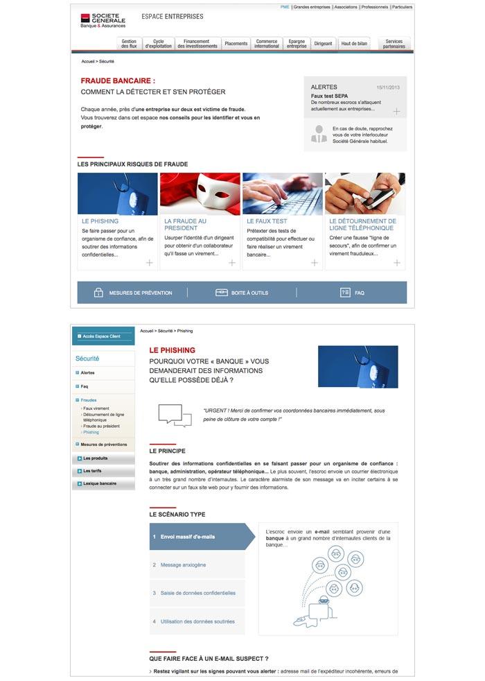 contenu web sur la fraude bancaire pour une banque