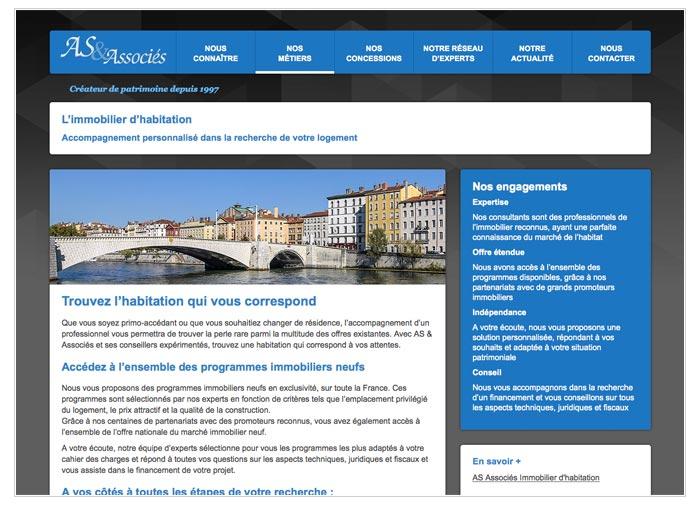 site web pour d'un cabinet de gestion du patrimoine immobilier