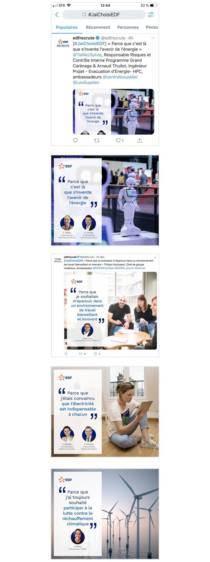campagne corporate et de recrutement sur Twitter