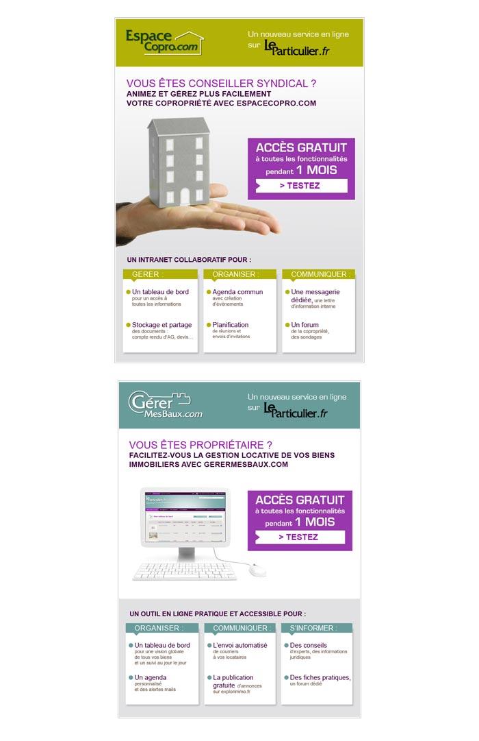 e-mailings et bannières pour gestion immobilière