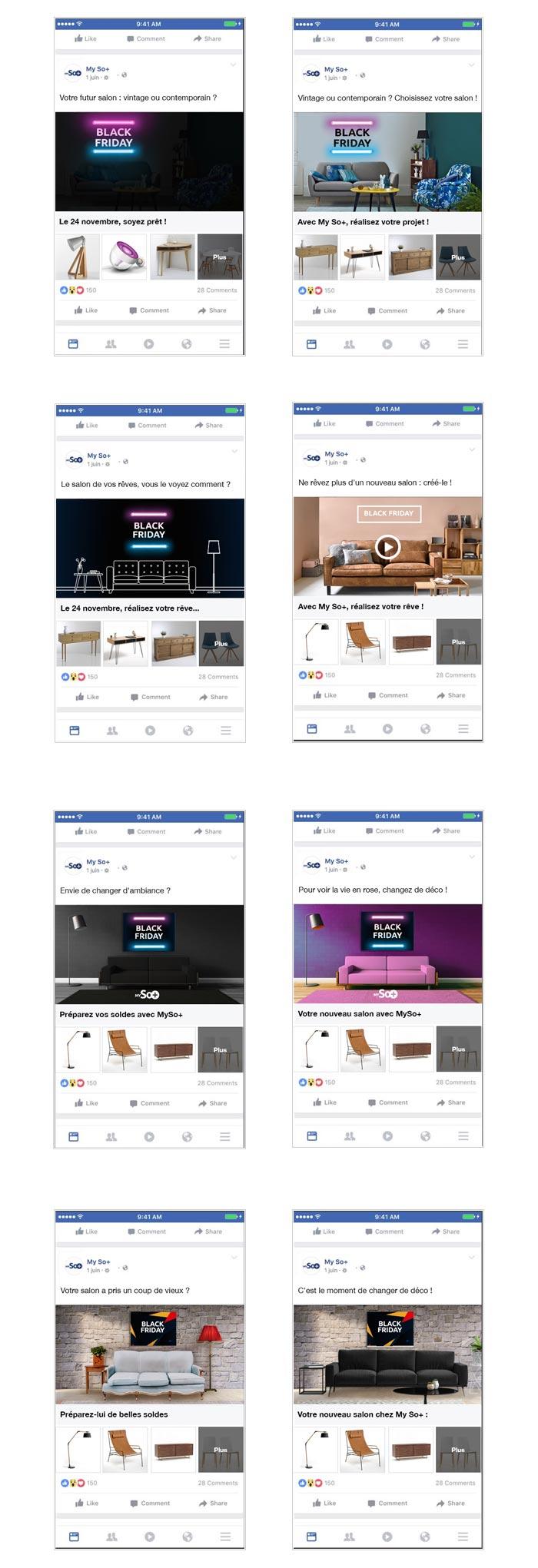 publicités sur Facebook pour le Black Friday