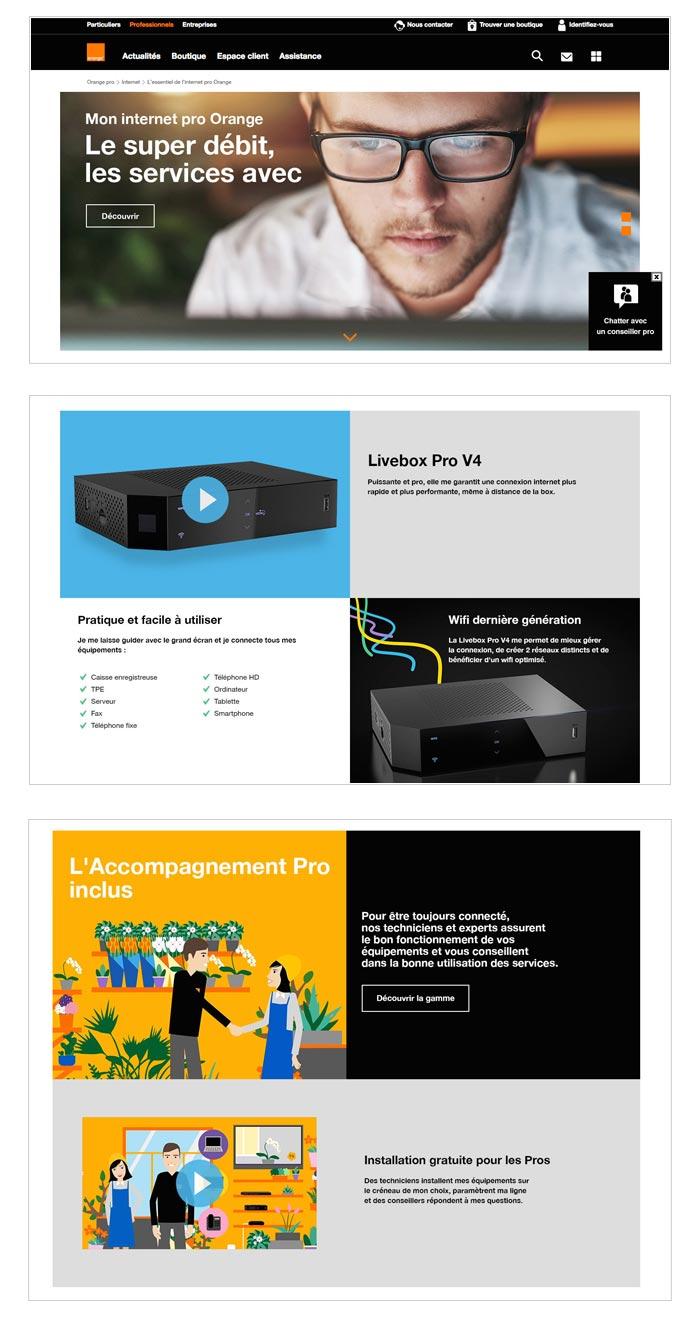 landing page pour solutions web pour les professionnels